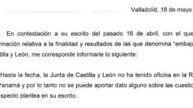 Extracto de la carta de defensa de la Junta ante el desvelo de una oficina comercial en Panamá