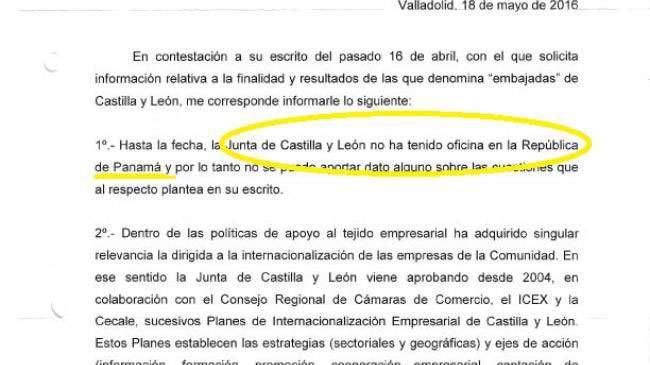 Respuesta de la Junta de Castilla Y León a una misiva enviada en Abril de 2016