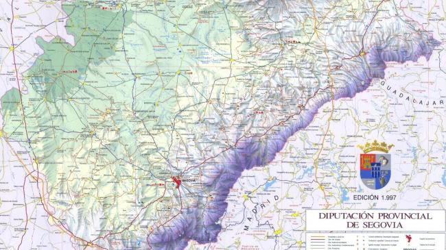 Mapa relieve de la provincia de Segovia