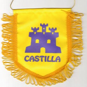 Banderin castillo morado sobre fondo amarillo
