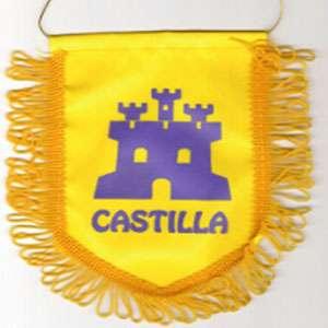 Banderin castillo morado sobre fondo amarillo