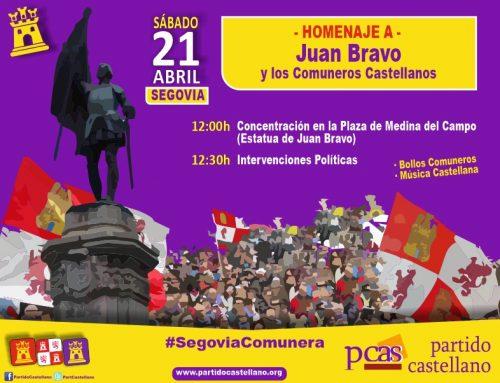 XIX Homenaje a Juan Bravo y a los Comuneros Castellanos el 21 de Abril en Segovia.