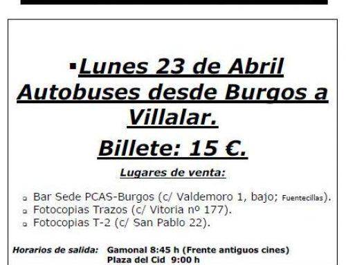 El PARTIDO CASTELLANO (PCAS) pone a disposición de los burgaleses autobuses para celebrar un 23 de Abril festivo y reivindicativo en Villalar de los Comuneros.