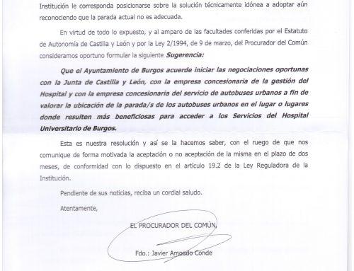 El PARTIDO CASTELLANO- TIERRA COMUNERA (PCAS-TC) lamenta el desinterés político para que el autobús municipal llegue a la puerta principal del HUBU a pesar de la recomendación del Procurador del Común